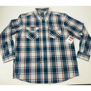 Wrangler Outdoor Plaid Vented Snap Button Size L